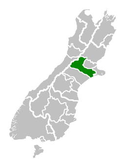 Location of the Selwyn District within the South Island