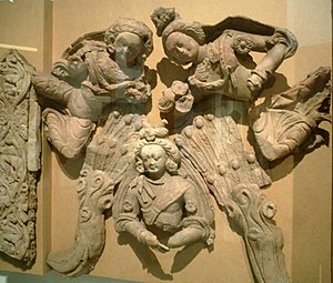 """Heroic gesture of the Bodhisattva"", 6th-7th century terracotta, Tumshuq (Xinjiang)."