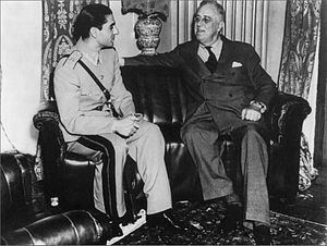 Persian Corridor - Son of Reza Shah meeting with F. D. Roosevelt at the Tehran Conference, 1943
