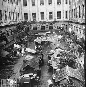 Santo Tomas Internment Camp - Many of the internees built huts (shanties) at Santo Tomas to escape the overcrowded conditions in the dormitories.