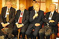 Shimon Perez, on panel of four Nobel Prize winners.jpg