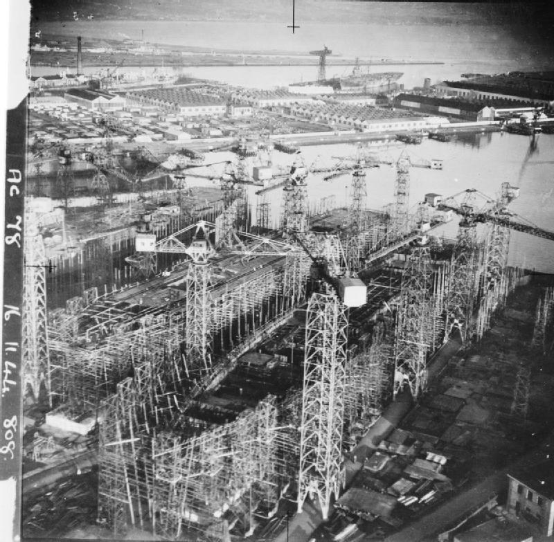 Shipbuilding in Belfast, Northern Ireland, November 1944. A28022