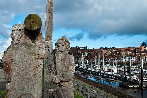 Shipyard Sculpture Whitby with Abbey in background