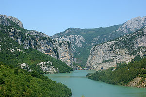 Central Mountain Range (Albania) - Shkopet Gorge, the Mat river flowing through the gorge.