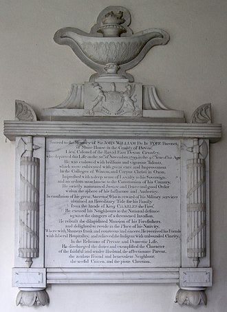 Peter Rouw - Mural monument by Peter Rouw to Sir John de la Pole, 6th Baronet (1757–1799), St Michael's Church, Shute, Devon, west wall of south transept