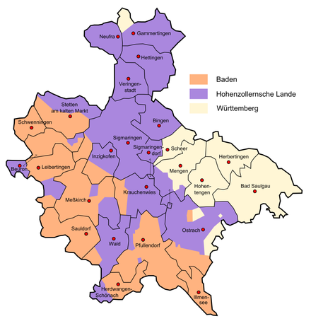 The portions of the modern district of Sigmaringen which were formerly part of Hohenzollern (purple), Baden (orange) and Württemberg (cream)