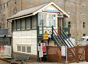 Downham Market railway station - Signal box at Downham Market railway station