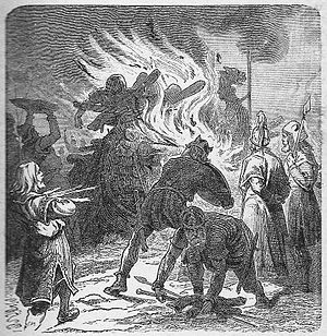 Sigurd Hring - Following the Battle of the Brávellir Sigurd Hring let burn the dead body of Harald Wartooth (F.W.Heine, 1921)