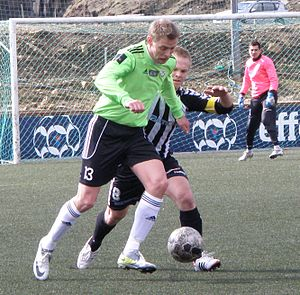 B36 Tórshavn - B36 in their new away colours against TB Tvøroyri on 15 April 2012. The player is Símun Hansen.