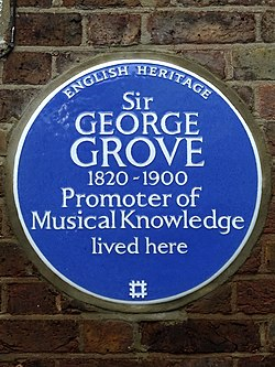 Sir george grove 1820 1900 promoter of musical knowledge lived here