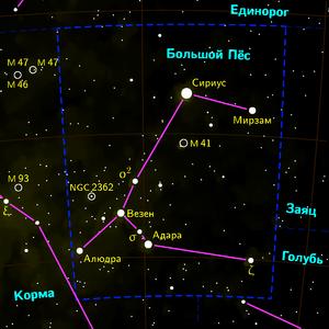 Sirius in Canis major constellation