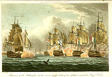 Coloured print of a naval battle between sailing ships. Four ships seen stern on in the right of the picture, obscured by clouds of smoke, a fifth ship seen bow on in the left.