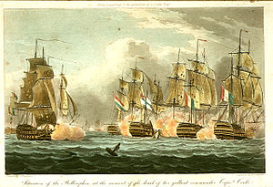 John Cooke (Royal Navy officer) - Situation of the Bellerophon at the moment of the death of her gallant commander Captn. Cooke, early-nineteenth century aquatint by Thomas Whitcombe, showing the Bellerophon surrounded by enemy ships at the moment of Cooke's death