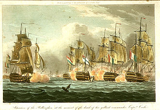 HMS Bellerophon (1786) - Situation of the Bellerophon at the moment of the death of her gallant commander Captn. Cooke, early-nineteenth century aquatint by Thomas Whitcombe, showing the Bellerophon surrounded by enemy ships at the moment of Cooke's death