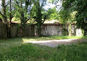 Mass graves in Škofja Loka - Image: Skofja Loka Slovenia Castle Wall 3 Mass Grave