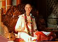 Smita Krishna Swami giving SB class in Vrindavan.JPG