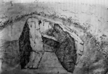 A monochrome illustration of three large stone slabs partially buried in soil.