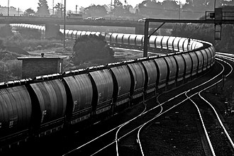 Hunter Valley Coal Chain - An empty coal train heads west through Maitland bound for the coal mines