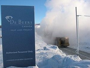 Snap Lake Diamond Mine - A mining truck exiting the mine portal, winter 2006