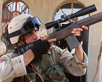 M14 rifle - An Army marksman in Fallujah, Iraq, using an M14 with a Leupold LR/T 10×40 mm M3 scope