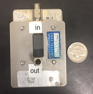 Infrared spectroscopy - Typical IR solution cell. The windows are CaF2.