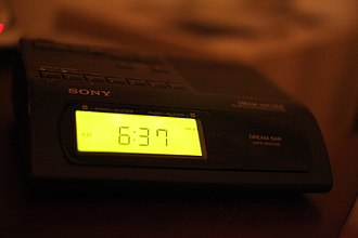"Sony Dream Machine - Sony Dream Machine alarm clock, with trademark ""dream bar"" snooze button"