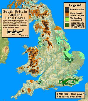 Wales in the Early Middle Ages - Ancient land cover of southern Britain.