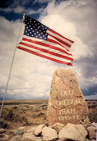 South Pass (Wyoming) - During the 20th century, Oregon Trail boosters marked the trailway with monuments. Ezra Meeker erected this boulder near Pacific Springs on Wyoming's South Pass in 1906.