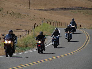 Motorcycle club - Southern California Norton Owner's Club on California State Route 41, near Creston.