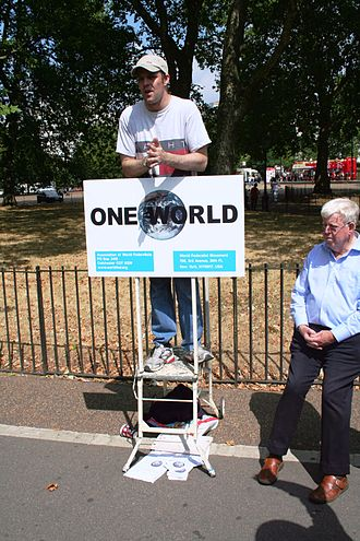 "Speakers' Corner - ""One world"" speaker supporting a world government"