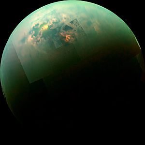 Journey to Enceladus and Titan - Near-infrared radiation from the Sun reflecting off Titan's hydrocarbon seas.