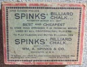 William A. Spinks - Image: Spinks Billiard Chalk box top ca 1900