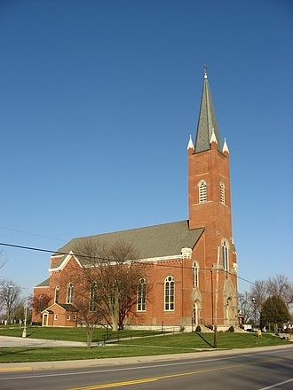 """Maria Stein, Ohio - St. John's Church in Maria Stein, one of the many """"cross-tipped"""" steeples in Mercer County"""