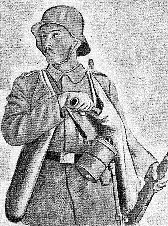 Stahlhelm - World War I German stormtrooper on the Western Front wearing the Stahlhelm.