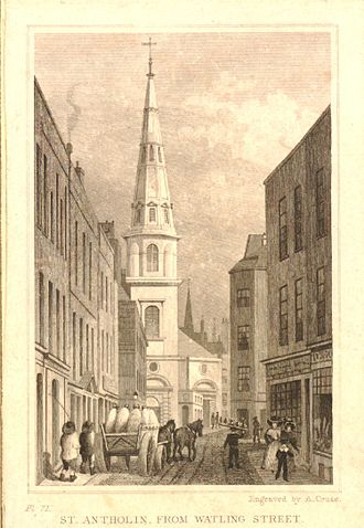 St Antholin, Budge Row - St Antholin's, as rebuilt in the 17th century, Engraving c.1830 by A. Cruse after Thomas Hosmer Shepherd.