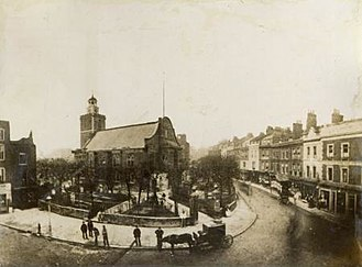 St Mary Abbots - Old St Mary Abbots Church, in 1869, shortly before its demolition