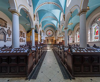 St Michael, Cornhill - The interior from the entrance looking down the aisle