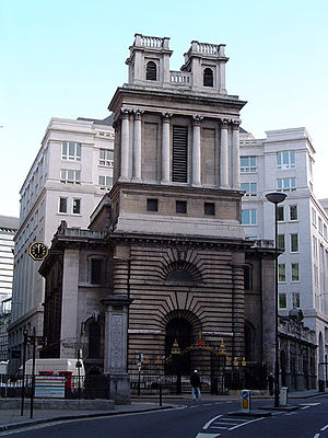 Langbourn - St. Mary Woolnoth on the corner of Lombard Street and King William Street.
