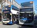Stagecoaches SN65OBE and AE07KYZ in Cheltenham, 2017 (33079180580).jpg