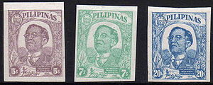 José P. Laurel - Postage stamps issued by the Japanese-controlled Second Philippine Republic in commemoration of its first anniversary. Depicted on the stamps is President Laurel