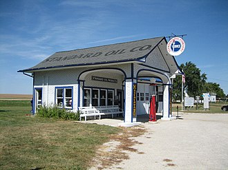 Standard Oil Gasoline Station (Odell, Illinois) - The restored Standard Oil Station in Odell, Illinois.