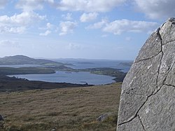 Standing Stone on Diamond Hill Walk, with view over Ballynakill Harbour - geograph.org.uk - 494220.jpg