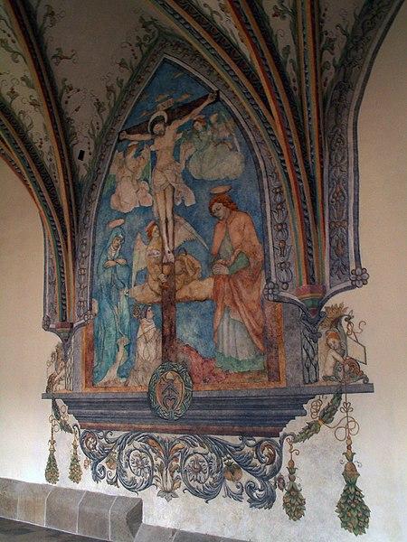 """Plik:Stanislaw Samostrzelnik """"Crucifixion"""" (polychrome ,1530-1541) Cistercian Abbey of Mogila Nowa Huta.jpg"""