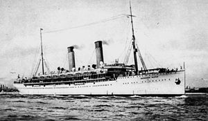 Union-Castle Line - RMS Edinburgh Castle was built in 1910, was an armed merchant cruiser in the First World War and an accommodation ship in the Second World War
