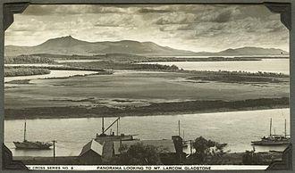Mount Larcom, Queensland - Panoramic view looking towards Mt. Larcom, Gladstone, 1937-1938
