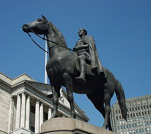 Equestrian statue of the Duke of Wellington, City of London - Close-up of the statue in 2004