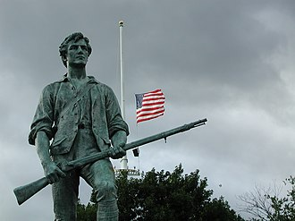 Second Amendment to the United States Constitution - Ideals that helped to inspire the Second Amendment in part are symbolized by the minutemen.
