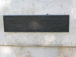 Harry Hill Bandholtz - Plaque of Bandholtz statue