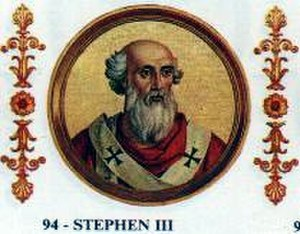 Lateran Council (769) - Pope Stephen III, who convoked the Lateran Council of 769 (fictional portrait at Saint Paul Outside the Walls, c. 1850)