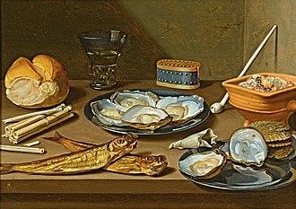 Floris van Schooten - Still life with herrings, oysters and smoking paraphernalia